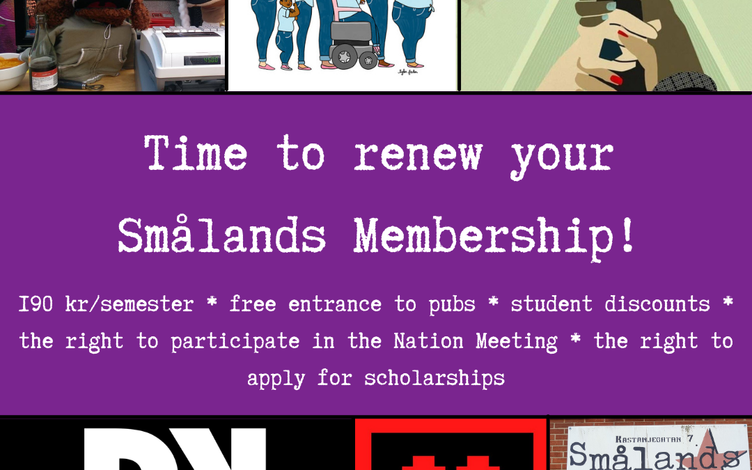 Time to renew your Smålands Membership!